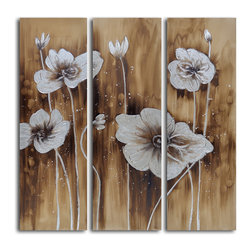 Muddied floral march Hand Painted 3 Piece Canvas Set - Graceful flowers sprawl across this stunning triptych, set against an earthy, muddied backdrop. Caringly crafted by a single artist, using canvas, acrylics and wooden frames, this modern likeness of flowers in a field is sure to instill a sense of calm in the room it adorns.