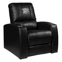 Dreamseat Inc. - Oklahoma City Thunder NBA Home Theater Leather Recliner - Check out this Awesome Leather Recliner. Quite simply, it's one of the coolest things we've ever seen. This is unbelievably comfortable - once you're in it, you won't want to get up. Features a zip-in-zip-out logo panel embroidered with 70,000 stitches. Converts from a solid color to custom-logo furniture in seconds - perfect for a shared or multi-purpose room. Root for several teams? Simply swap the panels out when the seasons change. This is a true statement piece that is perfect for your Man Cave, Game Room, basement or garage. It combines contemporary design with the ultimate comfort from a fully reclining frame with lumbar and full leg support.