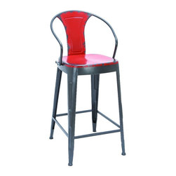 Woodland Imports - Vintage Bar Chair Red Square Seat Arched Back Support Kitchen Decor - Vintage style metal bar chair in antiqued red with square seat and arched back support home kitchen decor