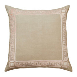 "Lili Alessandra - Lili Alessandra Dimitri Blush Euro Decorative Pillow - Lili Alessandra is known for unique and distinctive linens marked by elaborate prints, plush fabric and elegant details. Sophisticated luxury marks the Dimitri decorative euro pillow's rich natural linen design. This square bedding accessory supplies global allure and glamour with a Greek key-inspired applique in blush velvet. Includes 95/5 down-filled insert and zipper closure. Dry clean only. Lili Alessandra textiles reflect a handmade artistry that may result in slight and expected variations. 28""W x 28""H."