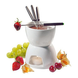 "Frieling - Chocolate Fondue - 2-cup porcelain fondue pot rests on a porcelain base that houses a tea light. The set is topped off with 4 color-coded forks. Compact size measures only 5"" diameter! Height: 10"""