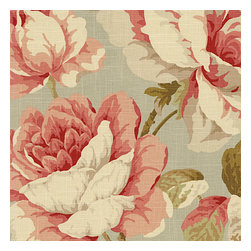 Aqua & Pink Giant Rose Linen Fabric - Oversized rose floral linen with whispers of seafoam, blush & ballerina pink.  The perfect balance of contemporary & feminine flare.Recover your chair. Upholster a wall. Create a framed piece of art. Sew your own home accent. Whatever your decorating project, Loom's gorgeous, designer fabrics by the yard are up to the challenge!