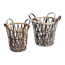 Cyan Design - Crusoe Baskets - Crusoe baskets - rustic