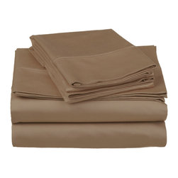 """500 Thread Count Cotton Sheet Set - King - Taupe - These 500 thread count sheets are made of premium quality cotton and built to last. They offer long lasting comfort and are a great value for the price. Each set includes a flat sheet 108""""x102"""", a fitted sheet 78""""x80"""", and two pillowcases 20""""x40""""."""