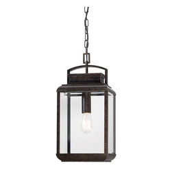 Quoizel - Quoizel Byron Outdoor Hanging Fixture X-BI0191NRB - This fixture gives the exterior of your home both beauty and an exclusive sense of style. It features a vintage bulb for a historic look and is enhanced by the copper hued plate directly behind it. The clear beveled glass and the imperial bronze finish complete the look.