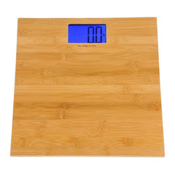 Kalorik - Electronic Bamboo Bathroom Scale - by Kalorik - The Kalorik Digital Bathroom Scale's high-quality natural bamboo finish fits seamlessly in both traditional and contemporary home interiors. Extremely water and scratch resistant, the precision digital scale is simple to use, automatically turning on or off upon stepping on or off the scale. Large blue backlit LCD display lends itself to ease of reading. Equipped with a high precision strain gauge sensor system for very accurate measure.