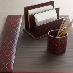 Burgundy Quilted Desk Accessories - Beautifully crafted desk accessories add a tailored touch to office organization.
