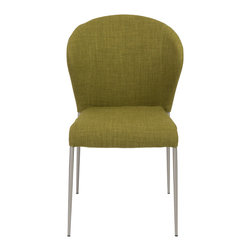 Euro Style - Sy Side Chair (Set of 4) - Green/Brushed Stainless Steel - The fabric/foam combination is always a welcome surprise.  The sturdy stainless steel legs also comforting.  But it's the luxuriously generous seat back that gives SY its unique look.  If you've been searching for something colorful and a little different, you might want to sit this one out!