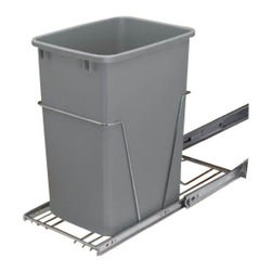 "Rev-A-Shelf - Rev-A-Shelf RV-12KD-17C S Single 35 Qt. Pullout Waste Container - Silver - This Single 35 Quart Pullout Waste Container in Silver is one of the best ways to get your trash can off the floor and hidden away. With this convenient pullout waste system, no longer do you constantly need to reach for and grab your trash container. Simply slide out the unit, and toss in the trash. It really is that simple! It's also fairly easy to install, as the process can be completed with just four screws after and quick and easy assembly. The unit includes (1) 35 quart silver colored polymer waste container, 100lb rated full-extension chrome ball-bearing slides, a removable handle, a rear basket that is perfect for storing garbage bags, and hardware and instructions. Install the Rev-A-Shelf RV-12KD-17C S today, and make your life much easier and neater! Physical specifications: 10-5/8"" W x 22"" D x 19-1/4"" H. Please make sure you have a minimum cabinet opening of at least 10-3/4"" W x 22-1/8"" D x 20"" H to ensure a proper fit."
