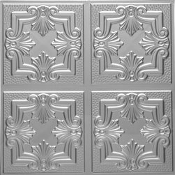 1202 Tin Ceiling Tile DETAILED FLEUR-DE-LIS - Real Tin Ceiling Tiles are made out of Tin Plated Steel and must be primed and painted from both sides to prevent corrosion. You may have read that these tiles were invented because Plaster Ceilings were too hard and too messy to make and not many people could afford them.  The truth is that people want beautiful ceilings and Tin Ceilings are definetly just that.  Mostly popular in The USA but also used in Canada, Europe & Australia.  Yes, these tiles are great to add beauty to your space but also to cover the damaged ceilings or walls that you just can not find anyone to restore at reasonable cost.  We carry about 200 different patterns from 3x3 to 24x24 patterns.  So how can these tiles be used on your ceiling?  There are two ways.  They could be nailed to your ceiling or dropped into your grid system.  We do have the real tin but as I have mentioned, it is our most economical metal tile starting only at $7.75 per tile and it does have to be primed and painted to prevent rust.   So if this is no problem this is the best option for you as you can save some money and get beautiful look.