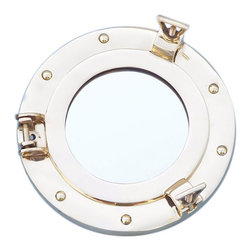 "Handcrafted Model Ships - Brass Porthole Mirror 8"" - Port Hole Mirror - This Brass Deluxe Class Porthole Mirror 8"" adds sophistication, style, and charm for those looking to enhance rooms with a nautical theme. This porthole mirror has a sturdy, heavy and authentic appearance, and is made of brass and glass which can easily be hung to grace any nautical theme wall. This all brass porthole mirror makes a fabulous style statement in any room with its classic round frame, six metal-like rivets and two dog ears. This marine porthole mirror has an 5"" diameter and 3"" deep when dog-ears are attached, 1.5"" deep without dog ears attached."
