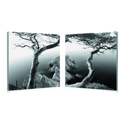 """Wholesale Interiors - Rocky Shore Mounted Photography Print Diptych - The wonder of the wide variances in nature's landscape are depicted in this two-piece modern wall art set. A diptych, this photograph is displayed across two separate waterproof vinyl canvases mounted to MDF wood frames. Made in China and fully assembled, this artwork does not include the necessary hardware to hang on your wall. To clean, wipe with a dry cloth. Product dimension: 19.68""""W x 1""""D x 19.68""""H."""