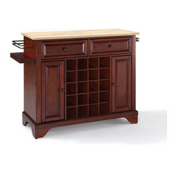 Crosley Furniture - Crosley Furniture Lafayette Natural Wood Top Wine Island in Vintage Mahogany - Wine lovers will entertain in style with Crosley's Kitchen Wine Cart.  Whether you're a connoisseur of fine wines or simply a casual fan, Crosley's Kitchen Wine Cart offers the utmost in entertaining convenience.  The cabinet features a 20-bottle wine rack and side-mounted 3-bottle wine valet and the top provides ample surface space for presentation of your wine and cheese alike. Raised panel doors conceal the adjustable inner shelving and two sliding drawers provide several options for storage. Wine cabinets come in one of four signature Crosley finishes featuring one of four surfaces - including wood, stainless steel or solid granite.