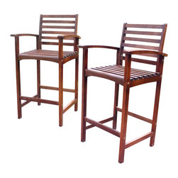 International Caravan - Patio Bar Stool - Set of 2 - Set of 2. All weather resistant. UV light fading protection. Equipped with arms and footrest. Distressed stain finish. Made from premium palm dale acacia hardwood. Made in Vietnam. Minimal assembly required. 23 in. W x 22.5 in. D x 43 in. H (58 lbs.)Perfect standard size bar stool for outdoor, garden or sun room use.
