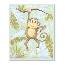 Stupell Industries - Monkey in Jungle Rectangle Wall Plaque - Made in USA. MDF Fiberboard. Hand finished and packed. Approx. 15 in. W x 11 in. L. 0.5 in. ThickThe Kids Room by Stupell features exceptional handcrafted wall decor for children of all ages.  Using original art designed by in-house artists, all pieces feature hand painted and grooved borders as well as colorful grosgrain ribbon for hanging.  Made in the USA, everything found in The Kids Room by Stupell exudes extraordinary detail with crisp vibrant color. Whether you are looking for one piece to match an existing room's theme, or looking for a series to bring the kid's room to life, you will most definitely find what you are looking for in The Kids Room by Stupell.
