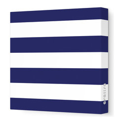 "Avalisa - Pattern - Lines Stretched Wall Art, 28"" x 28"", Navy -"