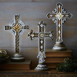 """Horchow - Three Hand-Carved Wooden Crosses - Exclusively ours. This set of three wooden crosses has the charming look of natural vintage-style decor. Hand carved of mango wood. Hand finished. Set of three; 8""""W x 4.5""""D crosses range in height from 14.25""""T to 14.5""""T. Imported."""