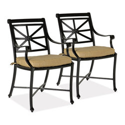 Thos. Baker - Hedges Outdoor Armchair, Set of 2 - Our hand-cast aluminum hedges collection recreates the look of classic English cast iron without the weight. Black powder-coated enamel provides a rust-free, UV-resistant finish that is extremely durable. Chair and sofa backs feature a Union Jack criss-cross motif with a center medallion.  This British flag pattern is repeated in all the table tops.Quick ship cushions available in Sunbrella gingko or dupione bamboo or choose from made-to-order Sunbrella and other premium performance fabrics.Signature or premium cushion sales are final and ship in 2-3 weeks.
