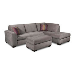 Chelsea Home - 2-Pc Almeda Sectional Set - Includes mood plum toss pillows. Ottoman not included. Transitional style. Heather seal cover. 100 % poly upholstery. Medium seating comfort. Mechanically engineered mechanisms for durability and long life. Sinuous springing system for uniform seating. Reinforced 16-gauge border wired system. Long lasting solid kiln dried hardwood frame. Cushion made from hi-density foam cores with dacron polyester wrap and zippers. Made in USA. No assembly required. 110 in. L x 38 in. W x 37 in. H (250 lbs.)