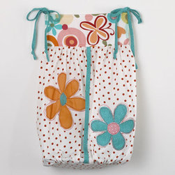 Cotton Tale Designs - Lizzie Diaper Stacker - A quality baby bedding set is essential in making your nursery warm and inviting. Cotton Tale uses quality materials and unique designs to create your perfect nursery. Part of the Lizzie collection, this cute small dot with turquoise ties and floral bib. Appliqued with large daisy's. 100% cotton. Holds 5 dozen newborn diapers. It is not only useful but is a decorative touch to your baby's nursery. Can be tied on the changer or dresser, but never on the crib. Wash gentle cycle, separate, cold water. Tumble dry low or hang dry. This collection is perfect for your little girl.