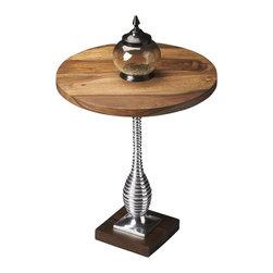 Butler - Traditional Pedestal Table - Shimmering polished aluminum pedestal