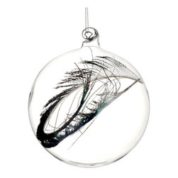 Silk Plants Direct - Silk Plants Direct Glass Ball Ornament w and Feather (Pack of 6) - Pack of 6. Silk Plants Direct specializes in manufacturing, design and supply of the most life-like, premium quality artificial plants, trees, flowers, arrangements, topiaries and containers for home, office and commercial use. Our Glass Ball Ornament w and Feather includes the following:
