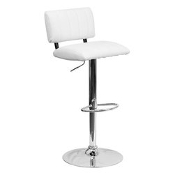 Flash Furniture - Contemporary White Vinyl Adjustable Height Bar Stool with Chrome Base - This designer chair will make an attractive statement in the home. The height adjustable swivel seat adjusts from counter to bar height with the handle located below the seat. The base and footrest have a chrome finish to complement the chair's modern design.