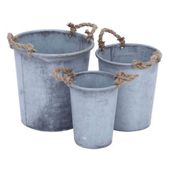 """Benzara - Planter with Patina Finish and Rustic Charm - Set of 3 - Attractive and elegant, Metal Planter with Patina Finish and Rustic Charm (Set of 3), will add a touch of style and elegance to your home decor. Place any houseplant in this beautifully designed metal planter to lend a sophisticated look to your interiors. This set of 3 traditional planters can be used in or around the home or garden area. Elegant and versatile, they come in three different sizes. These metal planters sports two jute handles for easy carrying. The neat, sleek contours do not require elaborate upkeep and will just lend a refined look to your garden area effortlessly. The metal planters with a patina finish will surely bring rustic charm to your living space. Crafted from metal, it is sure to last for years to come.; Metal planters flaunt a patina finish; Set of 3 traditional planters; Sports two jute handles for easy carrying; Neat, sleek contours; Crafted from metal; Crafted from metal; Weight: 4.63 lbs; Dimensions:13""""W x 13""""D x 13""""H; 10""""W x 10""""D x 12""""H; 8""""W x 8""""D x 10""""H"""