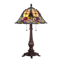 Quoizel - Quoizel TF1489TRS Mills Tiffany Table Lamp - Elegant Tiffany style is a timeless staple of home decor.  The various designs are handassembled using the copper foil technique developed by Louis Comfort Tiffany.  With an enormous variety of colors and patterns to choose from, Quoizel Tiffany�۪s have become more popular than ever.