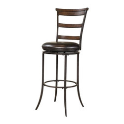 Hillsdale Furniture - Swivel Ladder Back Stool (30 in. Bar Height) - Choose Size: 30 in. Bar HeightChestnut brown finish and charcoal gray finishLadder backBrown faux leather seatThree rungs of Chestnut brown wood. 18 in. W x 22 in. D x 42 in. H (31 lbs.)The Cameron ladder back swivel stool features 3 rungs in the Chestnut brown finish, enhanced by the dark grey metal and brown faux leather seat.Appealing alone or combined with the Cameron dining collection.