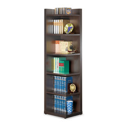 Coaster - Cappuccino Transitional Bookcase - Corner bookcase in cappuccino. Add multiple units to make a customized bookcase wall. Simple assembly is required.
