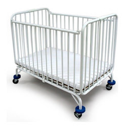 """LA Baby - Compact Folding Metal Crib Multicolor - 82 - Shop for Cribs from Hayneedle.com! The Compact Folding Metal Crib won't take up a lot of space and it folds up virtually flat so storage is easy and convenient. The white gloss nontoxic powder coated finish is easy to clean and scratch-resistant. A special braced leg construction assures lateral rigidity in transport and this crib features an exclusive """"Lock-down"""" safety floor system. 3-inch HD swivel casters make it easy to move this crib from room to room whether the crib is open or closed.Considered commercial grade this crib has been found effective for use in daycares and hotels for many years."""
