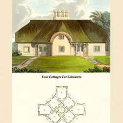 Buyenlarge - Four Cottages for Labourers 12x18 Giclee on canvas - Series: Rural Residential Design
