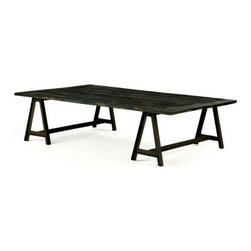 Brownstone Furniture Billings Coffee Table - The Billings table collection embodies rustic ease, with its blackened, charcoal reclaimed elm tops and iron saw horse bases. The result is a striking combination that compliments any casual, yet sophisticated, setting.