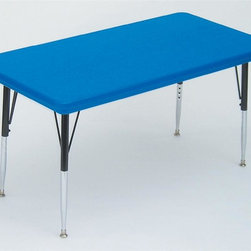 Correll Inc - Small Rectangular Activity Table in Blue (Sho - Finish: Short/BlueResist stains and damage from food, juices, crayons, paint, and even permanent markers. Light weight, scratch and impact resistant. Colors go all the way through. Not wear or scrape off. Free standing, full perimeter welded steel frames. Legs attach to frames with 3 bolts each. Free speed wrench for fast height adjustments. Standard legs adjust from 21 in. to 30 in. in 1 in. increments. Short legs adjust from 16 in. to 25 in. in 1 in. increments. Pictured in Blue finish. 24 in. W x 48 in. L