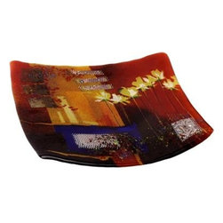 Bronze Age - Red and Blue Square Fused Plate Display - This gorgeous Red and Blue Square Fused Plate Display has the finest details and highest quality you will find anywhere! Red and Blue Square Fused Plate Display is truly remarkable.
