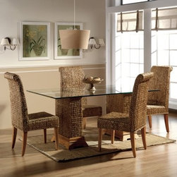 "Hospitality Rattan Sea Breeze Indoor 6 Piece Seagrass 48 in. Dining Set - Natura - Dinner on a sandbar may not be your first choice, but dinner on the Hospitality Rattan Sea Breeze Indoor 6 Piece Seagrass 48 in. Dining Set - Natural lets you enjoy the natural feel of grass and wood as you relax with a comfortable, modern set. Both the chairs and the table base start with solid wood frames that are covered in hand-woven seagrass. The chairs have legs of solid hardwood, while the feet of the table's large pedestals have a hardwood body with a simple, natural finish. A wide top of tempered and beveled glass creates the table top that you'll be gathering around for some time to come.Dimensions:Chair: 19W x 22D x 43H inchesTable: 48L x 48W x 30H inchesAbout Hospitality Rattan Hospitality Rattan has been a leading manufacturer and distributor of contract quality rattan, wicker, and bamboo furnishings since 2000. The company's product lines have become dominant in the Casual Rattan, Wicker, and Outdoor Markets because of their quality construction, variety, and attractive design. Designed for buyers who appreciate upscale furniture with a tropical feel, Hospitality Rattan offers a range of indoor and outdoor collections featuring all-aluminum frames woven with Viro or Rehau synthetic wicker fiber that will not fade or crack when subjected to the elements. Hospitality Rattan furniture is manufactured to hospitality specifications and quality standards, which exceed the standards for residential use. Hospitality Rattan's Environmental Commitment Hospitality Rattan is continually looking for ways to limit their impact on the environment and is always trying to use the most environmentally friendly manufacturing techniques and materials possible. The company manufactures the highest quality furniture following sound and responsible environmental policies, with minimal impact on natural resources. Hospitality Rattan is also committed to achieving environmental best practices throughout its activity whenever this is practical and takes responsibility for the development and implementation of environmental best practices throughout all operations. Hospitality Rattan maintains a policy of continuous environmental improvement and therefore is a continuing work in progress. Hospitality Rattan's Environmentally Friendly Manufacturing Process All of Hospitality Rattan products are green. From its basic raw materials of rattan poles, peels, leather, bamboo, abaca, lampacanay, wood, leather strips, and boards, down to other materials like nails, staples, water-based adhesives, finishes, stains, glazes and packing materials, all have minimum impact to the environment and are safe, biodegradable, recycled, and mostly recyclable. Aside from this, the products have undergone an environmentally-friendly process that makes them """"greener."""" The company's rattan components are sourced from sustained-yield managed forests, which means the methods used to grow and harvest the rattan vines ensure the long-term life of the forest and protect the biodiversity of the forest's ecosystems. Hospitality Rattan is committed to buying and using all materials, from rattan and hardwood to finishing materials, from reputable and renewable suppliers and seeks appropriate evidence that suppliers are in compliance with this policy. Hospitality Rattan strives to use materials that are processed in an environmentally responsible manner, or consist of a high level of recycled material. Finishing materials and stains used in Hospitality Rattan's furniture products consist of 75% water-based solutions which evaporate upon application with reduced or Volatile Organic Compounds (VOCs). The furniture factories use water-based glues, stains, topcoats and other finishes on all of their products. The switch from traditional solvent-based processes to water-based processes involved consolidating several processes by the factories, resulting in an 85% reduction in VOC emissions."