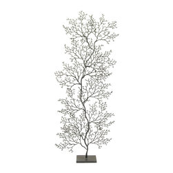 Kathy Kuo Home - Cozumel Charcoal Grey Fan Coral Sculpture - Tall - The hand-welded, delicate details of undersea coral are born from slate grey metal, combining the elements of water and earth. This tall, artistic sculpture makes an impressive centerpiece on the dining table or a Coastal Beach beacon on your front porch.