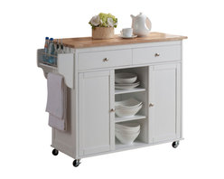 Baxton Studio - Baxton Studio Meryland White Modern Kitchen Island Cart - It is only appropriate for the distinctive chef to have a distinctive kitchen. To help you along in your quest for culinary excellence in your own home, we offer the versatile Meryland Kitchen Cart.  This is a beautifully built kitchen island for the modern kitchen that includes drawers, cabinets, shelves, and racks to keep all the essentials at your fingertips.  The unit is constructed with a medium-density fiberboard frame that has rubber wood veneer.  The base is finished in a white lacquer and the countertop has a light wood stain for a country cottage-inspired design.  Finishing touches include lockable wheels and silver drawer pulls.  Assembly is required.  To clean, wipe with a dry cloth.  Made in Malaysia.