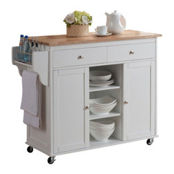 Baxton Studio - Baxton Studio Meryland White Modern Kitchen Island Cart - It is only appropriate ...