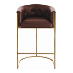 Arteriors Home - Arteriors Home Calvin Leather/Hide/Antique Brass Barstool - Arteriors Home 6826 - If you invite guests to pull up a seat and they pull up this one, they may never go home. It's much more than a barstool, it's an easy chair on steroids. The leather upholstery is stylish and elegant. The low back and curved box-style seating supports and cushions your body. Elevate your decor while you elevate your body.
