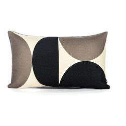 "LaCozi - ""A-Pex"" Cream & Black Oblong Pillow - Round and round … this oblong pillow incorporates the junction of two circles to create a bit of graphic drama. You can pair them with a collection of solid color pillows or mix it up with other patterns for added interest."