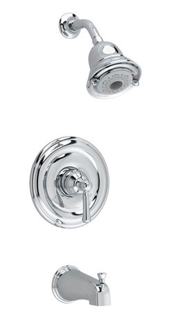 American Standard - Portsmouth Tub and Shower Faucet with Square Escutcheon in Polished Chrome - American Standard T420.502.002 Portsmouth Tub and Shower Faucet with Square Escutcheon in Polished Chrome.