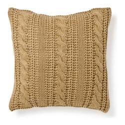 Knit Pillow Cover - Give me all the cable-knit pillows! This camel color one is so luxe.