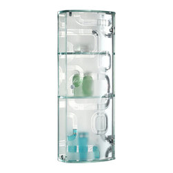 Elegant Home Fashions - Tempered glass Wall Cabinet with Generic design - This beautiful glass wall cabinet is made of tempered glass with tempered mirror back.  The curved bay window with generic design provides privacy and unique taste.