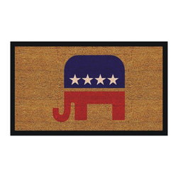 Momentum Mats - Republican Elephant Natural Coir/ Vinyl Doormat (1'5 x 2'5) - Made of natural coir,the Republican Elephant outdoor doormat is vinyl backed to prevent movement and provide stability. This beautiful doormat makes a perfect addition to any home or patio area.