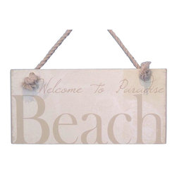 """Handcrafted Model Ships - Wooden Welcome To Paradise Beach Sign 8"""" - Wood Beach Sign - This Wooden Welcome To Paradise Beach Sign 8"""" is a great addition to a beach themed home. Perfect for welcoming friends and family, or to advertise a festive party at your beach house, bar, or restaurant, this sign is sure to brighten your day. Place this beach sign up wherever you may choose, and enjoy its wonderful style and the delightful beach atmosphere it brings."""