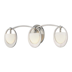"George Kovacs - George Kovacs Earring Collection 19"" Wide Bathroom Light - This graceful fixture sparkles with an earring inspired design. This ultra modern look is like jewelry for your decor! This bathroom wall light features a brushed nickel finish and etched opal glass. A stunning design from George Kovacs. Brushed nickel finish. Etched opal glass. Includes three 40 watt G9 xenon bulbs. 7"" high. 19"" wide. Extends 5 1/2"" from the wall.  Brushed nickel finish.   Etched opal glass.   Design by George Kovacs.  Includes three 40 watt G9 xenon bulbs.   7"" high.   19"" wide.   Extends 5 1/2"" from the wall."