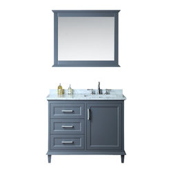"Ariel - Nantucket 42"" Single-Sink Bathroom Vanity Set - Drawing inspiration from Cape Cod style architecture, this Nantucket vanity features clean lines with traditional styling and remarkable functionality. The whale grey finish is polyurethane-coated for enhanced durability.  Storage is provided through three 1/2"" solid fir drawers and one main storage compartment."