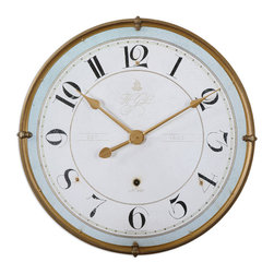 Uttermost - Torriana Wall Clock - Antiqued, Gold Metal Frame With An Antiqued Ivory Face And A Pale Blue Accent Around Inner Edge. Quartz Movement.